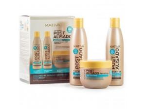 Kativa post  Набор после кератинового выпрямления волос(шампунь 250 мл+бальзам 250 мл + маска 250 мл) KERATINA
